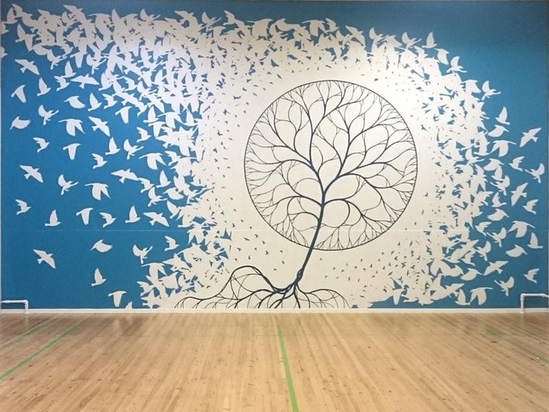 Vægmaleri gymnastiksal i Roskilde